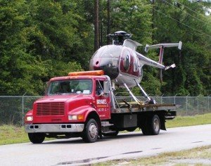 Bryant's towing a helicoper off of the interstate. This specialty towing job was actually for the governor of Florida.